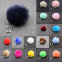 Ponpom Anahtarlık 3.15 inç Fluffy Faux Tavşan Kürk Topu Anahtarlıklar Kadınlar Kızlar Için Araba Çanta Charm Anahtarlık Tutucu 29 Renkler KITER-C95Q F