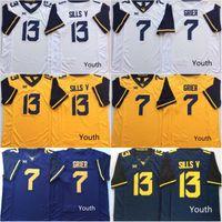 Gençlik NCAA Batı Virjinya Dağcılar Jersey 7 Will Grier 13 David Sills V Koleji Futbol Formalar STOK Ücretsiz Kargo İÇİNDE