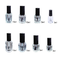3 5 10 15ml Empty Nail Polish Glass Bottle Clear Portable UV...
