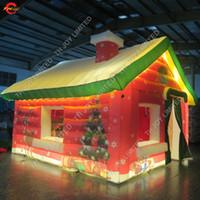 جميل زينة أدى الإضاءة نفخ سانتا حزب الحدث منزل المقصورة خيمة مضاءة نفخ سانتا كلوز الكهف