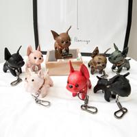 Bulldog Anahtarlık Pu Deri Hayvan Köpek Anahtarlık Tutucu Çanta Charm Trinket Chaveiros Bulldog Çanta Aksesuar Punk Stil Kolye