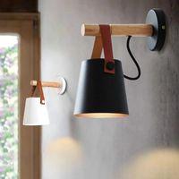 LED Duvar Lambaları İçin Salon Duvar Aplikleri Işık E27 İskandinav Ahşap Kemer Işık Yatak Başucu E27 Abajur Ev Dekorasyonu