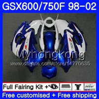 Kropp för Suzuki Blue White Stock GSXF 750 600 GSXF750 1998 1999 2000 2001 2002 292HM.36 GSX 600F 750F Katana GSXF600 98 99 00 01 02 FAIRING