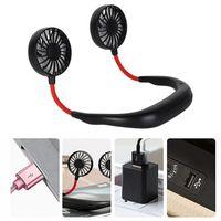 Pendurado Neck Fan USB recarregável Neckband preguiçoso Mãos livre Pescoço de suspensão dupla de Arrefecimento Mini Fan Esporte 360 graus de rotação