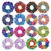 Frauen dot glänzend Laser Farbverlauf Farbe Elastische Haarbänder Pferdeschwanzhalter Seil Haarsprudeln Krawatte Haar Haarbänder Für Mädchen Stirnband A101501