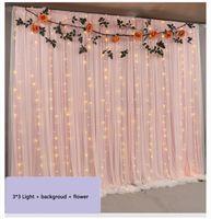 3m x 3m rideaux de toile de fond de mariage coloré avec des lumières LED Event Party Archres Décoration De Mariage Scène De Silk Drape Decor 2 couches