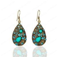 piedras preciosas y diamantes gota de agua creativas hacen los pendientes antiguos de estilo nacionales pendientes bohemios femeninos