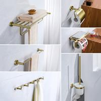 Комплект аксессуаров для ванны Aodeyi Ванная комната Аксессуары для ванной комнаты Халате для подъема бумаги держатель полотенце стойки бар Держатель для щетины, матовый золотой аппаратный набор, 18-012