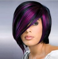 Karışık renkli kısa saç mor peruk BOB kafa moda patlama modelleri Afrikalı siyah Avrupa ve Amerikan peruk