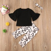 Pudcoco neonato ragazza vestiti di colore solido Flare manica lunga leoprad Stampa pantaloni lunghi fascia 3Pcs Abiti Set 0-24M