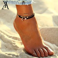 AY Bohemia Cuentas Conjunto de tobillera para la pulsera pendiente de las mujeres de la luna en la joyería de la pierna correa del tobillo del verano de las muchachas para el tobillo del pie
