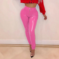 Winter Latex Pu Pants Skinny Women Warm Thick High Waist Pant Female Trousers Zipper Front Leather Pants