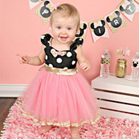 New baby girl cartoon dress polka dot dresses infant lovely ...