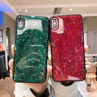 Custodia Slim per Samsung S10 5G Plus S10E iPhone 8 Plus 6 6s 7 X Xs Max Xr Liscio Glitter Shell