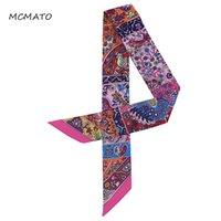 Nouveau design ruban de soie petit imprimé floral femme foulard foulard poignée de sacs de sacs de sacs féminin foulards longs foulards wraps