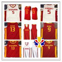 스페인 2019 농구 월드컵 유니폼 팀 Espana 9 Ricky Rubio 13 Marc Gasol 5 Rudy Fernandez 41 Juancho Hernangomez 14 Willy Geuer Claver