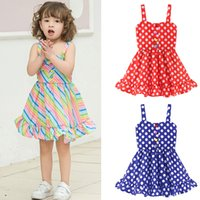 Children Girls Clothes baby rainbow Stripe Dot Dress kids de...