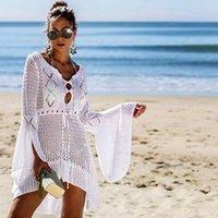 2020 Seksi Bikini Tığ Örme Kadın Mayo Kapak Up Plaj Elbise Mayo Kapak-UPS Beachwear MX200327