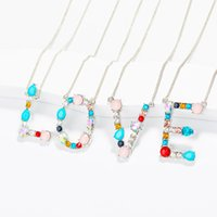 Gold Color Initial Multicolor CZ Necklace Personalized Lette...