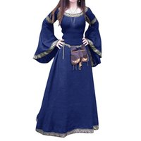 Wholeslae - 레트로 여성 중세 전체 길이 긴 소매 라운드 넥 슬림 파티 코스프레 드레스