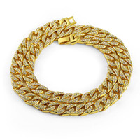 Iced Out Bling Rhinestone Golden Finish Miami Cuban Link Cha...