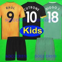 2019 2020 الذئاب NEVES RAUL البيت الأصفر لكرة القدم بالقميص عدة 19 تي شيرت كرة القدم 20 Wolverhampt DIOGO J. موتينيو واندرارز الاطفال السوداء بالقميص