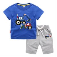 Boutique Boys clothing Carton Excavator Casual Cotton Outfit...