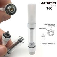 Originale Amigo T6C Vape cartucce vuote Vape Pen Carrelli pressato in Tip 510 Oil Cartucce T-forma 1 ml di ceramica Serbatoi Coil vetro vaporizzatore