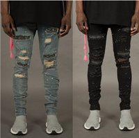 Unique Mens Distressed Ripped Skinny Jeans Fashion Design Slim Fit Washed Motocycle Jeans Denim à plusieurs pistolage trou Hip Hop Pantalons
