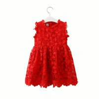 Summer Kids Dress for Girls Red Sleeveless Lace Embroidery B...