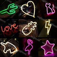 LED Neon Burcu SMD2835 Kapalı Gece Işık Gökkuşağı Ay Yarasa Geyik Yıldırım Modeli Tatil Noel Parti Düğün Süslemeleri Masa Lambaları Eub
