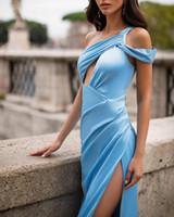 Frete Grátis Sereia Vestidos de Noite Long Satin Vestidos formais Side Slit Abiye Gece ElbiseSi Robe de Soiree