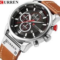 Reloj Hombre CURREN كرونوغراف للرجال رياضة ساعات رجالية كوارتز ساعة جلد حزام ساعة اليد للماء