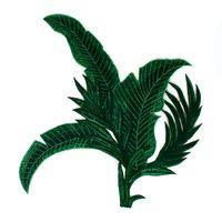 1 peças Verde Folha de Bananeira Bordado Applique Lace Tecido Patches de Tecido Cord Scrapbooking Aparamento para Roupas Decoradas T2648