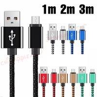 Mikro V8 USB Kablo 1m 2m 3m samsung için Alüminyum Alaşım Kumaş naylon veri şarj kabloları s6 s7 s8 s9 not 8 htc c Tipi
