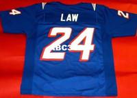 Erkekler Özel # 24 Ty Law 1990 Beyaz Renkli Erkekler Futbol Forması Boyutu S-4XL veya Özel Herhangi Bir Ad veya Sayı Forması