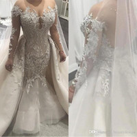 Modest Sheer Neck Mermaid Wedding Dresses With Overskirts Sh...