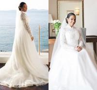 2020 Abiti da sposa musulmana A Abiti da sposa in tulle in tulle in pizzo ad alto collo con manica lunga sweep treno abiti da sposa