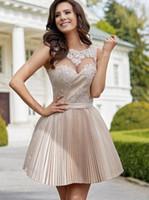 Сексуальная прозрачная жемчужина шеи коктейльные платья кружева аппликации плиссирует линию девушки домашнее платье мини юбка партии платье cd002