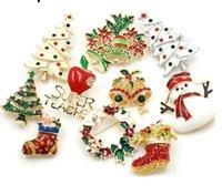 2020 에나멜 눈사람 나무 브로치 핀 크리스마스 선물 징글 벨 부츠 브로치 매력 크리스탈 크리스마스 선물
