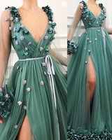 Long- Sleeves Gorgeous Green A- Line Side- Slit Tulle Prom Dres...