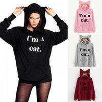 Bir Kedi Kadın Kedi Kulak Uzun Kollu Hoodie Kazak Kazak Tops değilim