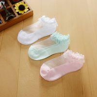 Neue Art-nette Kind-Kind-Kristallspitze Mesh-Socken ultradünne Breathable Mädchen Pure Color Socken