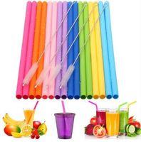 Wiederverwendbare wiederverwendbare Silikon-Strohhalme Lebensmittelqualität Silikon-Strohhalme mit Reinigungsbürste-Party-Strohhalme BPA frei 8,5 mm