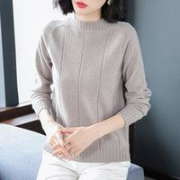 2020 spring new women' s sweater round neck solid color ...
