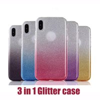 Gradient Color Glitter Paper 3 in 1 Hybrid Phone Cases For i...