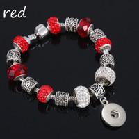 Mode Strand Cristal Perle De Verre Lien de Bracelet 092 18mm Snap Bouton Charme Bracelet Bijoux Pour Femmes Adolescents Cadeau 20 cm