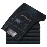 Men's Quality classic jeans denim overalls pants comfortable man Full length Bouncy pants High waist outdoor Retro Large size