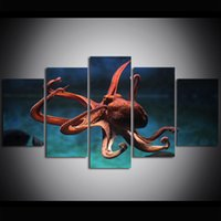 5 Piece Large Size Canvas Art Print Oil Painting Undersea Cr...