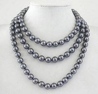 "Mariage Prett Lovely Women's XF546 Livraison gratuite bijoux de mode 10mm South Sea Grey Shell Collier de perles 50 """